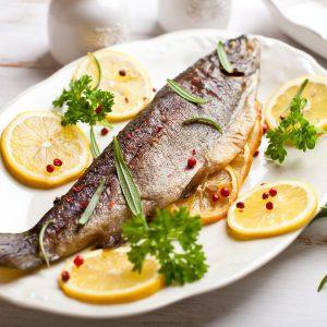 Baked Trout On Plate 11 300x300 - آموزش ۸۳ نوع غذای دریایی