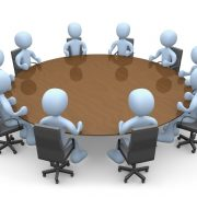 ۳d people in a round table having a meeting.